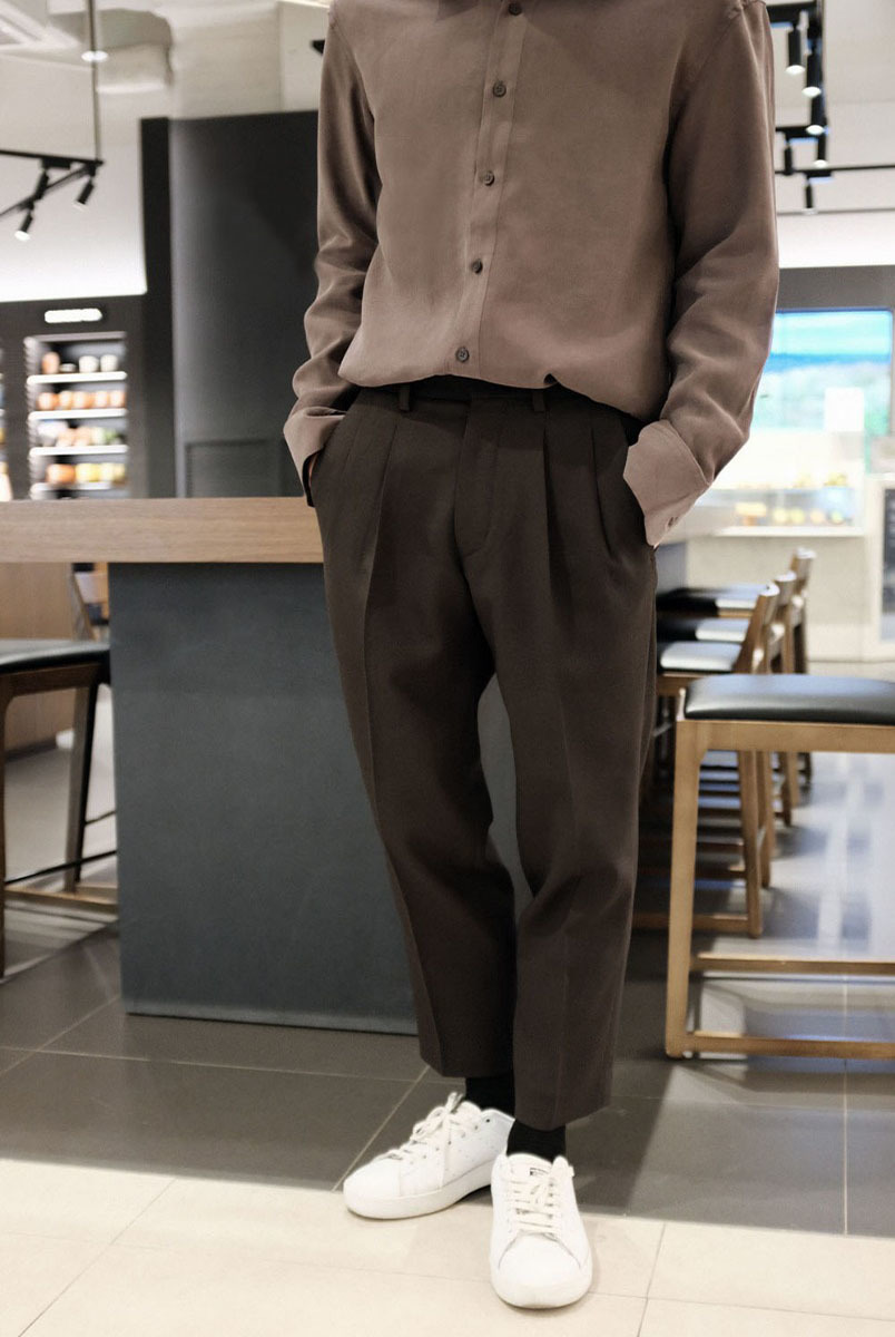 (제일모직) Two-Tuck Wool Trousers (Dark Brown)