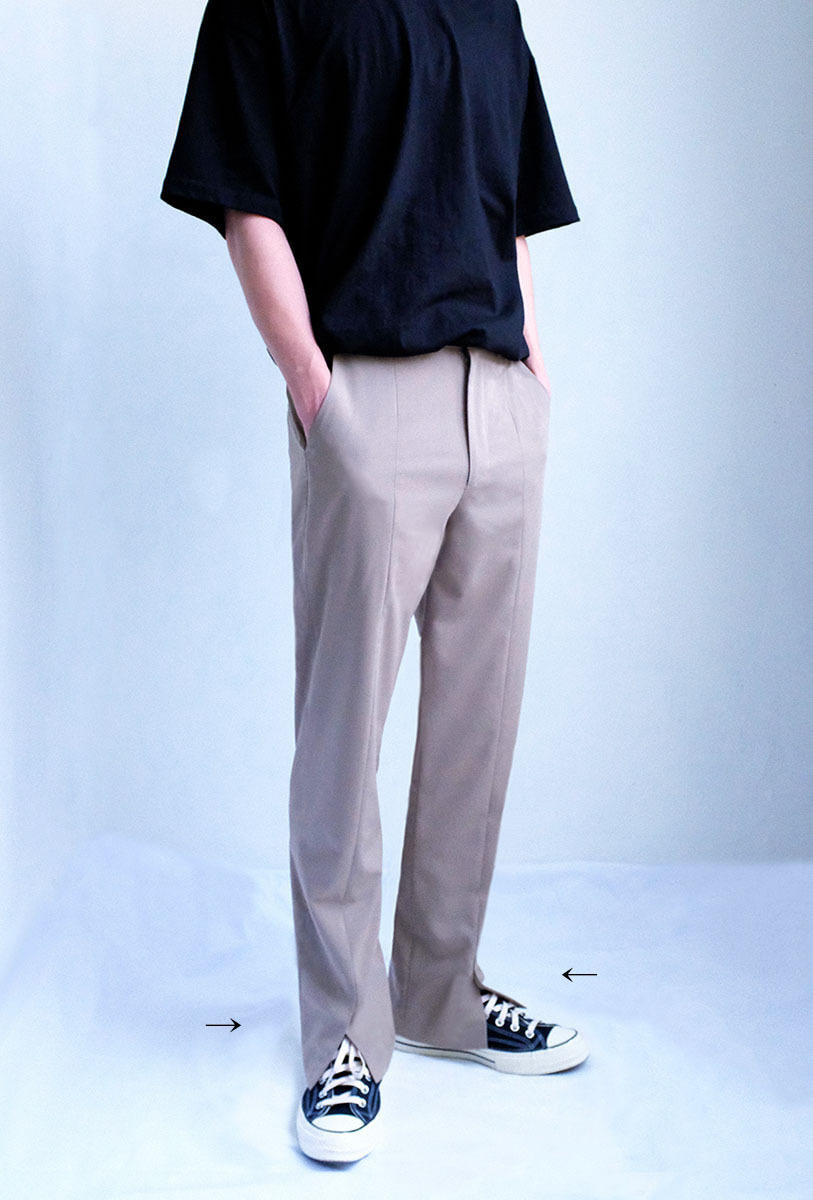 Front-Cut Trousers (Mocha Beige)