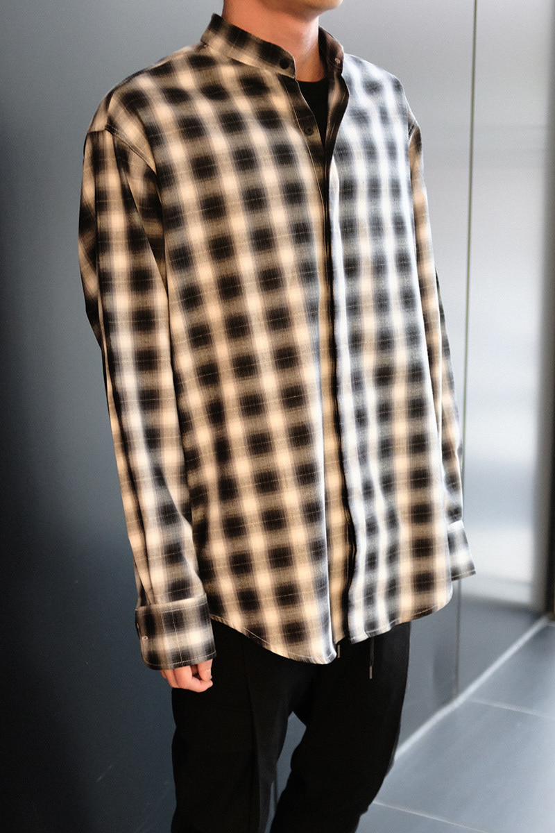 (SALE) Stand-up collar Check Shirts