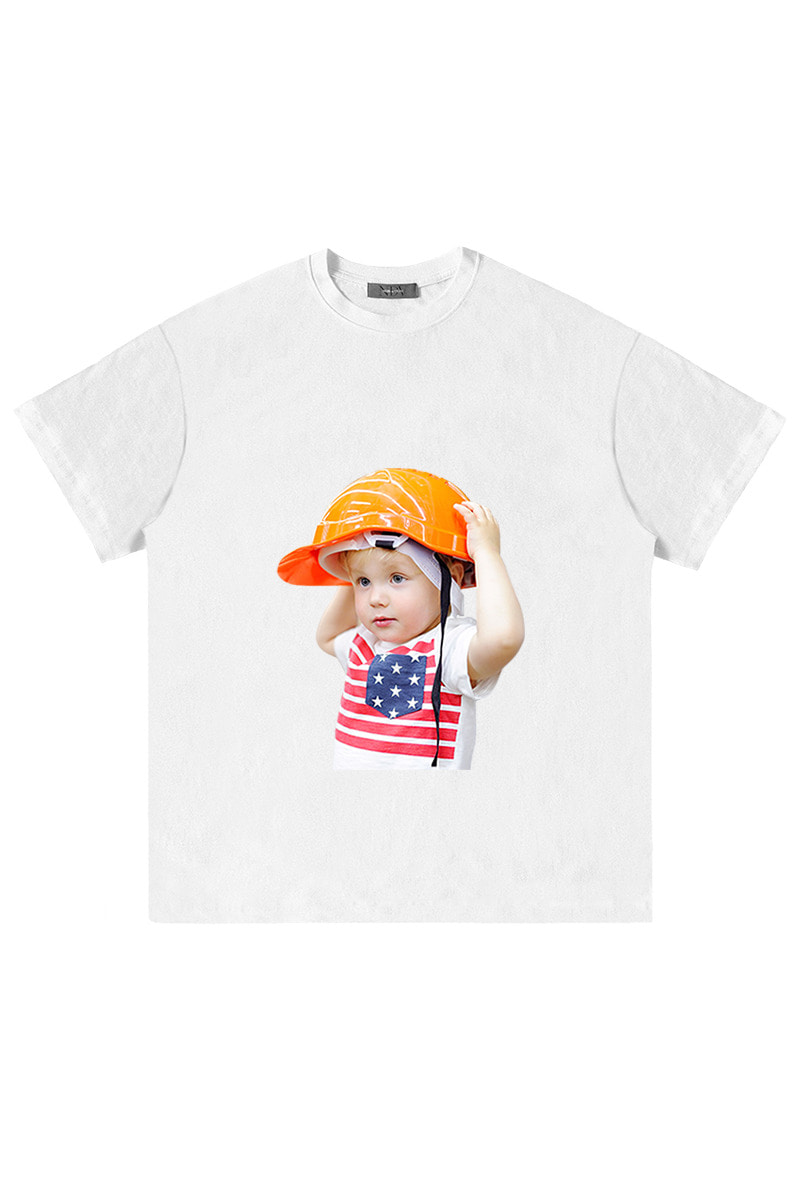 Orange Hard hat 'Short Sleeve White